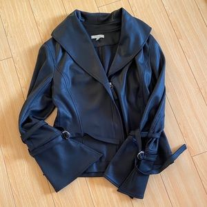 Max Studio faux leather bell sleeve moto jacket